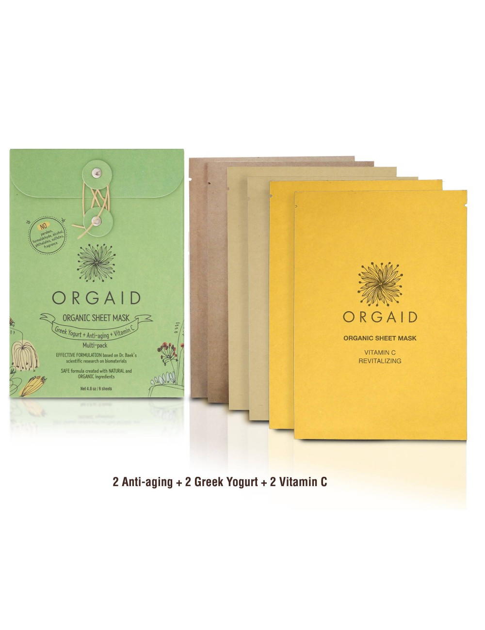 ORGAID Organic Sheet Mask - Assorted multi-pack 6 Sheets