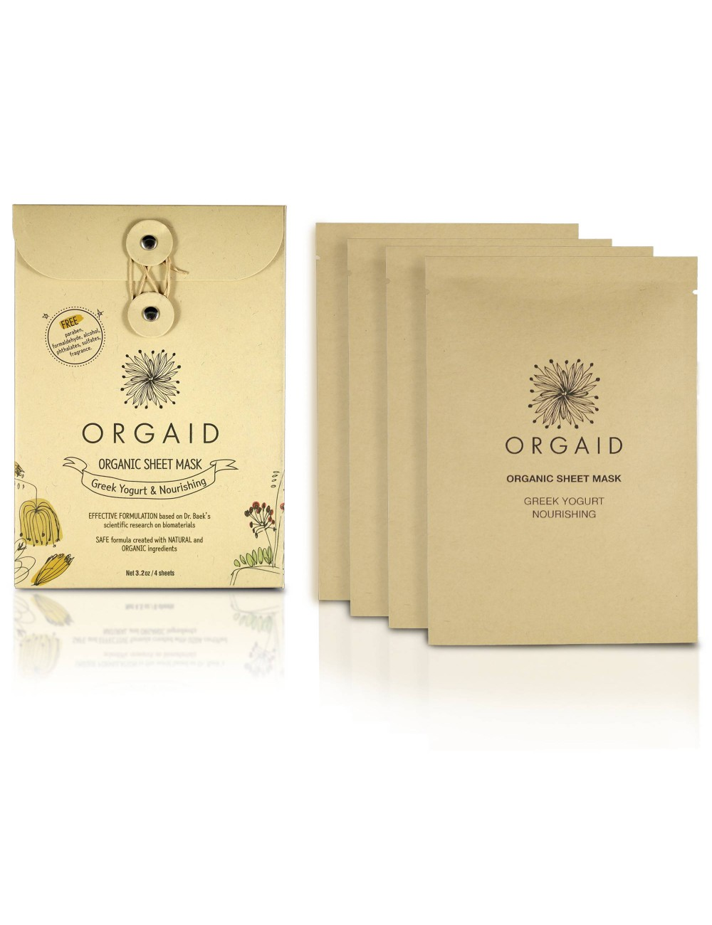 ORGAID Organic Sheet Mask - Greek Yogurt & Nourishing 4 Sheets