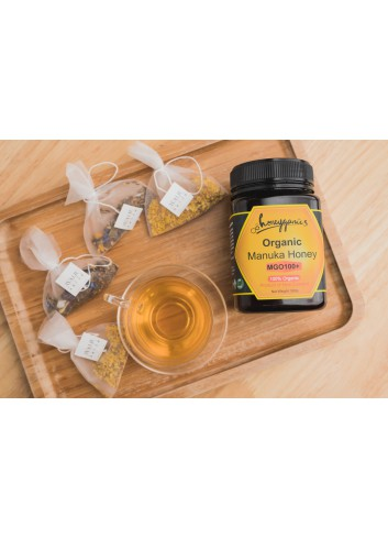 Honeyganics Organic Manuka Honey MGO100+ 500g (+$15 for Our House Selection Tea bags x 1pack)