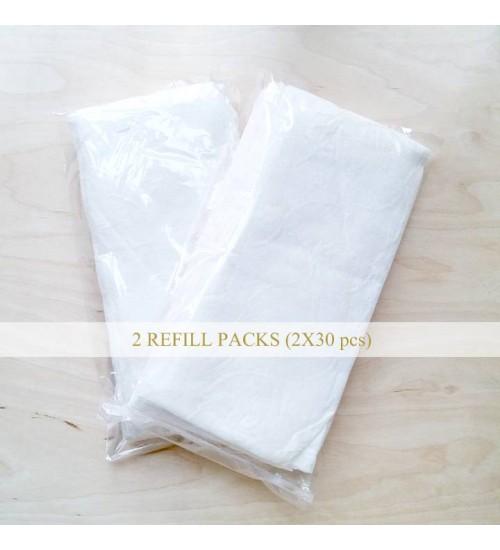 AVA LIU 輕柔潔面布 2包補充裝 (共60片)